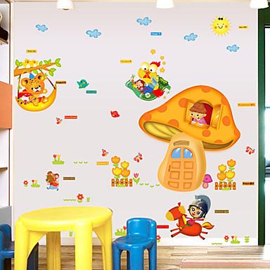 동물 패션 만화 벽 스티커 플레인 월스티커 데코레이티브 월 스티커, 종이 홈 장식 벽 데칼 벽 유리 / 욕실