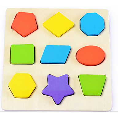 voordelige 3D-puzzels-Bouwblokken Steekpuzzels Houten modellen Speeltjes Vierkant Cirkelvormig Ster Kinderen 1 Stuks