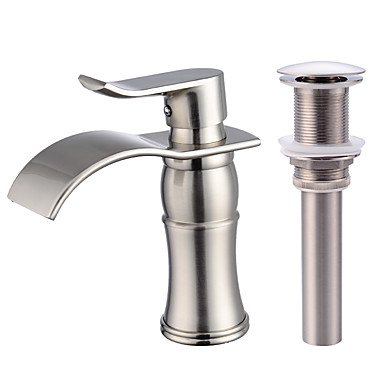 Moderna Conjunto Central Cascata Válvula Cerâmica Monocomando e Uma Abertura Níquel Escovado, Faucet Set