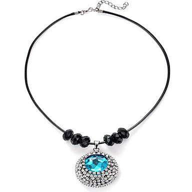 Mulheres Sapphire sintético Colares com Pendentes - Estilo simples Redonda Azul Claro Colar Para Presente / Diário / Casual