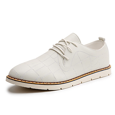 Men's Shoes PU Summer Fall Light Soles Comfort Oxfords Lace-up For Casual White Black Orange