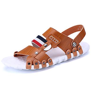 Homens sapatos Couro Ecológico Primavera / Verão Conforto / Solados com Luzes Sandálias Marron / Azul / Khaki