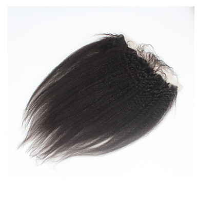 povoljno Perike i ekstenzije-ELVA HAIR Brazilska kosa 4x13 Zatvaranje Ravan kroj / Kinky Ravno Besplatno dio / Središnji dio / 3. dio Švicarska čipka Ljudska kosa