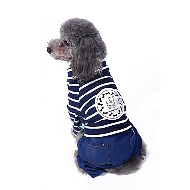 고양이 강아지 코트 점프 수트 바지 강아지 의류 귀여운 캐쥬얼/데일리 패션 스트라이프 레드 블루 코스츔 애완 동물