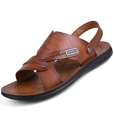 Herrn Schuhe PU Sommer Komfort Sandalen für Draussen Dunkelbraun Khaki