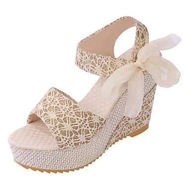 Damen Schuhe PU Frühling Sommer Herbst Club-Schuhe Sandalen Walking Keilabsatz Plateau Runde Zehe Schleife Für Normal Gold Schwarz Silber