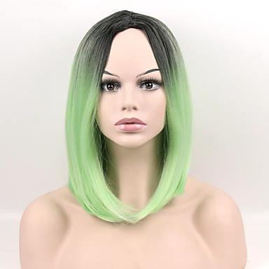 Damen Synthetische Perücken Kappenlos Mittel Glatt Grün Natürliche Perücke Kostüm Perücken