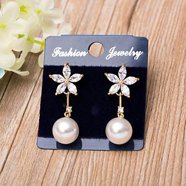 Damen Ohrring Imitierte Perlen Kubikzirkonia Blumig Künstliche Perle Kubikzirkonia Rose Gold überzogen Anderen Schmuck Weihnachts