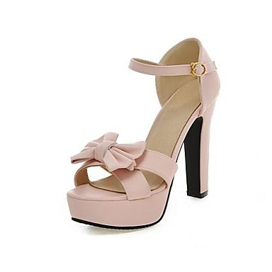 Mulheres Sapatos Couro Ecológico Courino Verão Outono Inovador Conforto Sandálias Caminhada Salto Robusto Peep Toe Laço para Festas &
