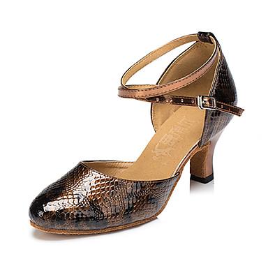 Mulheres Tênis de Dança Courino Sandália / Têni Presilha Salto Robusto Personalizável Sapatos de Dança Bronze / Profissional
