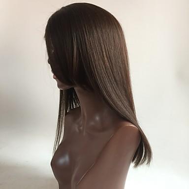 Echthaar Vollspitze Perücke Glatt 130% Dichte 100 % von Hand geknüpft Afro-amerikanische Perücke Natürlicher Haaransatz Kurz Medium Lang