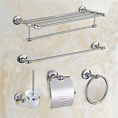 Jogo de Acessórios para Banheiro Alta qualidade Latão 5pçs - Banho do hotel Suporte de Escova de Banheiro anel de torre barra da torre