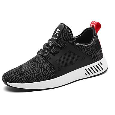 Homens sapatos Tule Primavera / Outono Conforto Tênis Caminhada Preto / Cinzento / Vermelho