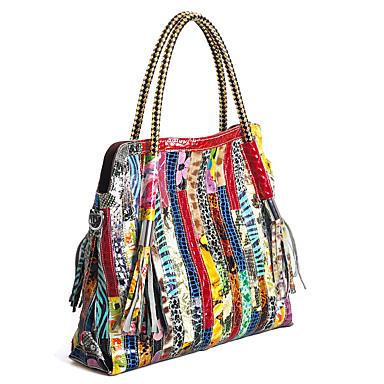 hesapli Çantalar-Kadın's Çantalar Sığır Derisi Tote Malzeme Kombini için Davet / Parti İlkbahar yaz Gökküşağı