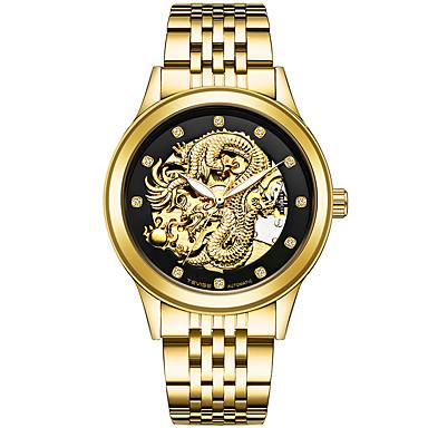 Недорогие Армейские часы-Муж. Спортивные часы Часы со скелетом Армейские часы Японский С автоподзаводом Нержавеющая сталь Серебристый металл / Золотистый / Разноцветный 30 m Календарь Творчество Имитация Алмазный Аналоговый