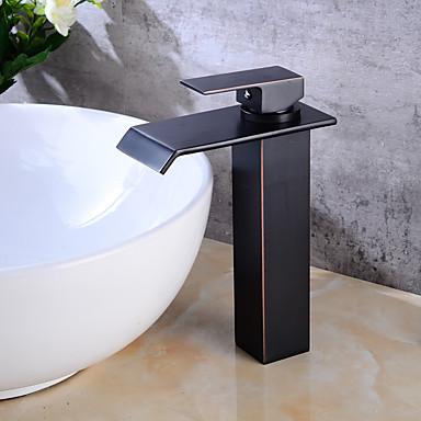 Mittellage Wasserfall Einhand Ein Loch Öl-riebe Bronze, Waschbecken Wasserhahn