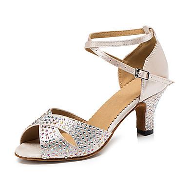 Mulheres Sapatos de Dança Latina Courino Sandália / Têni Pedrarias / Presilha Salto Robusto Personalizável Sapatos de Dança Preto / Nú