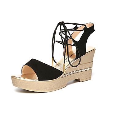 Mulheres Sapatos Camurça Verão Conforto Sandálias Salto Plataforma Peep Toe Preto / Vermelho / Verde / Calcanhares