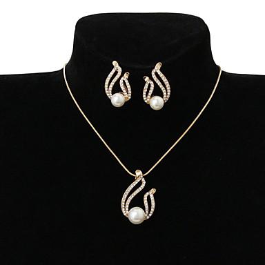 Mulheres Conjunto de jóias - Imitação de Pérola, Strass Caído senhoras, Básico Incluir Dourado Para Casamento Festa Ocasião Especial Diário Casual