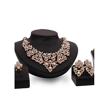 Mulheres Ruby Sintético Conjunto de jóias - Banhado a Ouro 18K, Strass, Chapeado Dourado Personalizada, Luxo, Vintage Incluir Dourado Para Festa / Ocasião Especial / Housewarming / Anéis