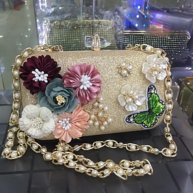 Mulheres Bolsas Courino Pedrarias / Miçangas / Pétala para Casamento / Festa / Festa / Eventos Dourado