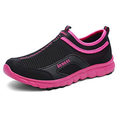 Mulheres Sapatos Borracha Primavera/Outono Conforto Tênis Sem Salto Ponta Redonda para Atlético Ao ar livre Roxo Fúcsia
