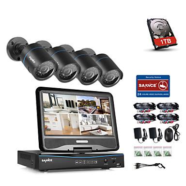 Sannce® 4ch 4pcs 720p lcd dvr odolný protipovodňový zabezpečovací systém analog ahd tvi ip camera s 1tb hdd