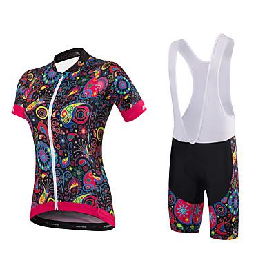 Malciklo Fahrradtrikot mit Trägerhosen Damen Kurzarm Fahhrad Kleidungs-Sets Elasthan Bambus-Karbonfaser Coolmax 100% Polyester Terylen