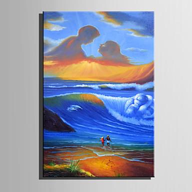 Pintura a Óleo Pintados à mão - Abstrato Moderna Tela de pintura / Lona esticada