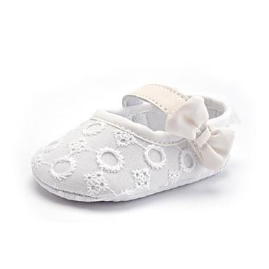 Kinder Baby Schuhe Stoff Sommer Herbst Lauflern Loafers & Slip-Ons Schleife Spitze für Normal Party & Festivität Kleid Weiß Schwarz Rot
