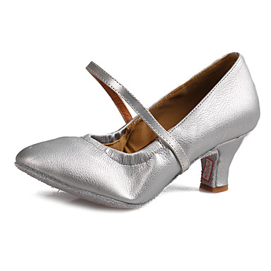 للمرأة أحذية عصرية جلد صندل / كعب مشبك كعب كوبي مخصص أحذية الرقص أسود / فضي / بني / أداء