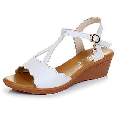 Mulheres Sapatos Microfibra Verão Conforto Sandálias Salto Plataforma Peep Toe Preto / Vermelho / Verde / Calcanhares