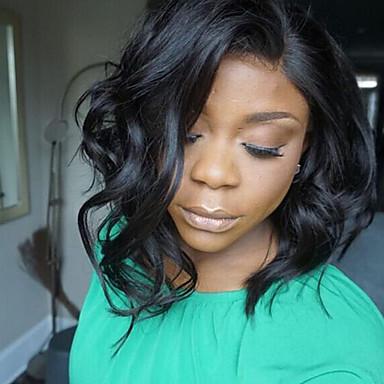 Damen Echthaar Perücken mit Spitze Haare mit intakter Kutikula (Remy Hair) Spitzenfront Ohne Klebstoff und  Spitze in der Front 130%