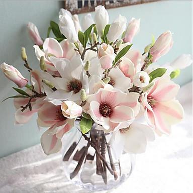 Flores artificiais 1 Ramo Estilo Europeu Magnólia Flor de Mesa