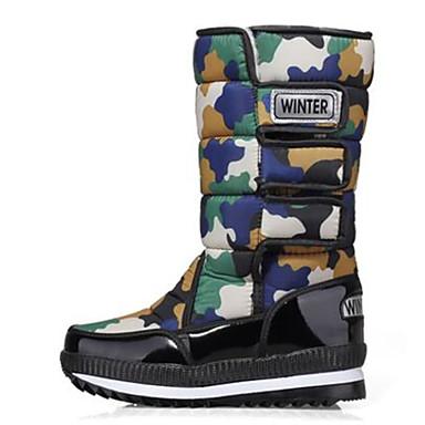 Naiset Kengät PU Kevät Comfort Bootsit varten Kausaliteetti Musta Punainen Vihreä