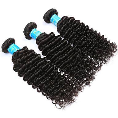 Indiai haj Mély hullám Emberi haj sző 3 darab Az emberi haj sző