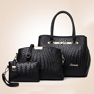 للمرأة أكياس PU توتي 3 قطع محفظة مجموعة سحاب ذهبي / أسود / خمر / مجموعات حقيبة