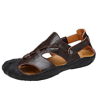 Homens sapatos Couro Ecológico Primavera / Verão Gladiador Sandálias Castanho Claro / Castanho Escuro