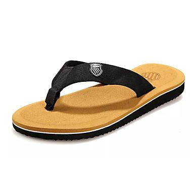 Pánské Sandály Pohodlné PU Léto Outdoor Plochá podrážka Šedá Žlutá Hnědá Méně než 2.5 cm