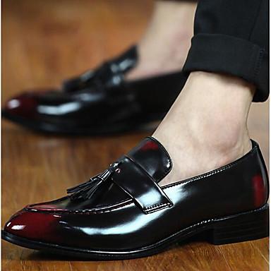 Homens sapatos Couro Ecológico Primavera Conforto Mocassins e Slip-Ons Preto / Marron / Vermelho