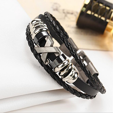 Men's Women's Leather Bracelet - Leather Vintage Bracelet Black / Brown For Gift