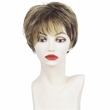 Cabelo Sintético perucas Ondulado Corte em Camadas Corte Pixie Com Franjas Peruca Natural Curto Marrom