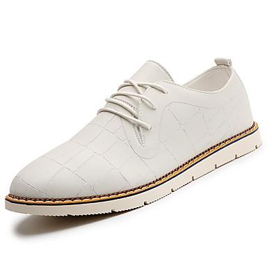 Homens sapatos Couro Ecológico Primavera Outono Oxfords Caminhada Pregueado para Branco Preto Marron