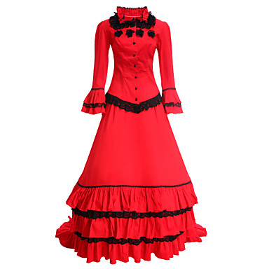 Medieval Victorian Costume Women's Dress Masquerade Party Costume Red Vintage Cosplay Cotton Long Sleeves Long Length