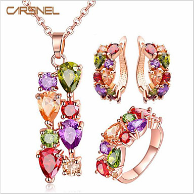 Women's Cubic Zirconia Single Strand Jewelry Set - Zircon Fashion, USA Include Stud Earrings Necklace Ring Red For Wedding Party Birthday / Engagement