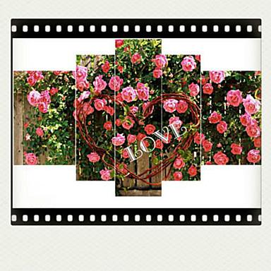 Kunstdrucke Blumenmuster/Botanisch Modern,Fünf Panele Horizontal Druck Wand Dekoration For Haus Dekoration