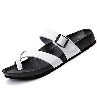 Pánské Obuv Tyl PU Jaro Pohodlné Sandály pro Ležérní Bílá Černá