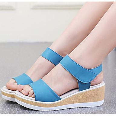 Naiset Sandaalit Kevät PU Valkoinen Musta Sininen Tasapohja