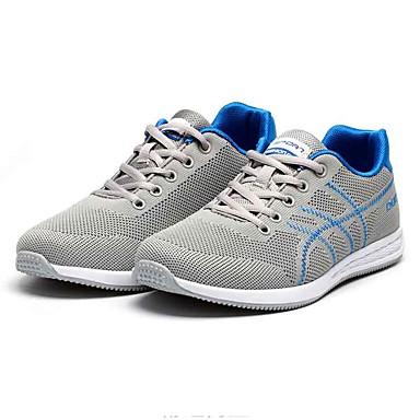 Homens sapatos Tecido Primavera Outono Conforto Tênis Caminhada Cadarço para Casual Ao ar livre Preto Cinzento