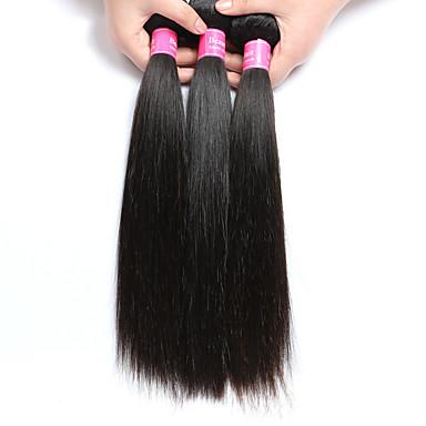 3 pacotes Cabelo Brasileiro Liso Cabelo Virgem Cabelo Humano Ondulado Tramas de cabelo humano Extensões de cabelo humano / Reto